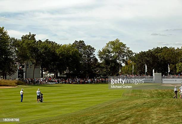 A general view of the ninth hole as Zach Johnson waits to hit from the fairway during the Third Round of the BMW Championship at Conway Farms Golf...