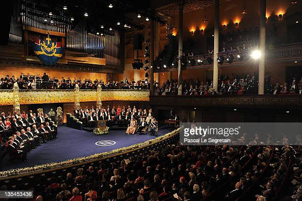 A general view of the Nobel Prize Award Ceremony at Stockholm Concert Hall on December 10 2011 in Stockholm Sweden