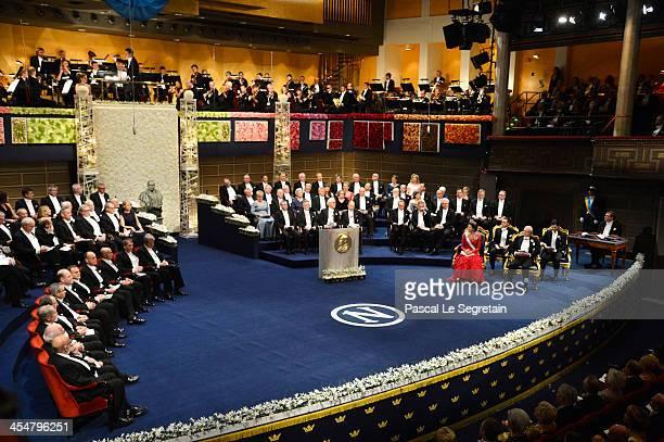 A general view of the Nobel Prize Awards Ceremony at Concert Hall on December 10 2013 in Stockholm Sweden