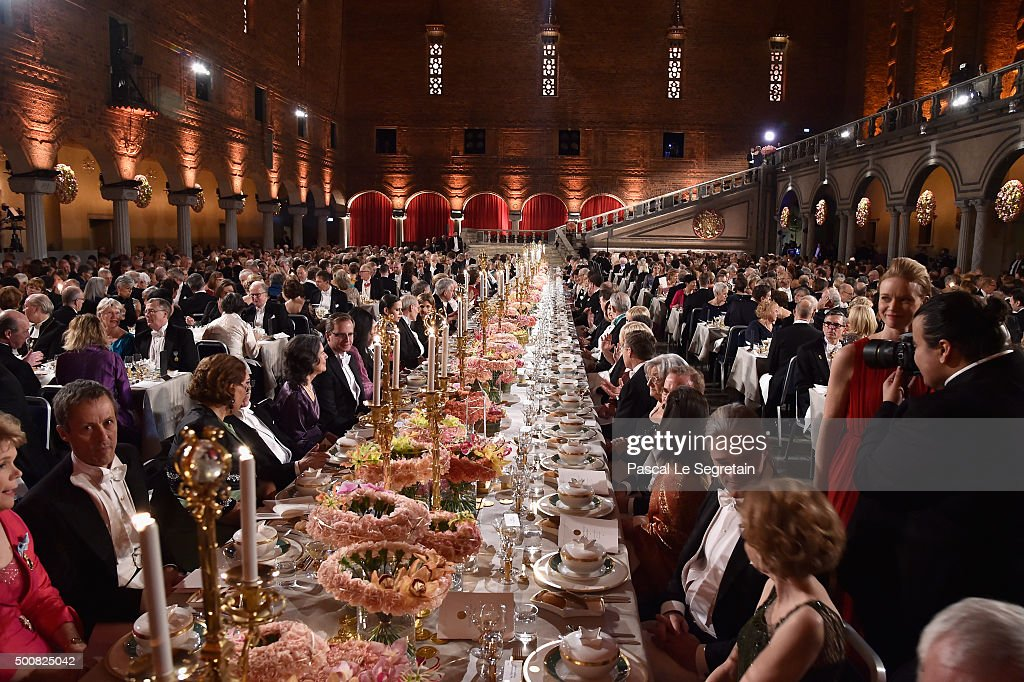 General view of the Nobel Prize Banquet 2015 at City Hall on December 10 2015 in Stockholm Sweden