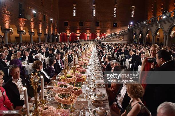 General view of the Nobel Prize Banquet 2015 at City Hall on December 10 2015 in Stockholm Sweden