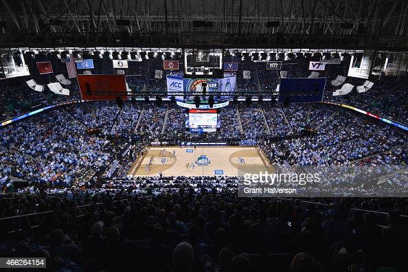 A general view of the North Carolina Tar Heels and Notre Dame Fighting Irish at the 2015 ACC Basketball Tournament Championship game at Greensboro...