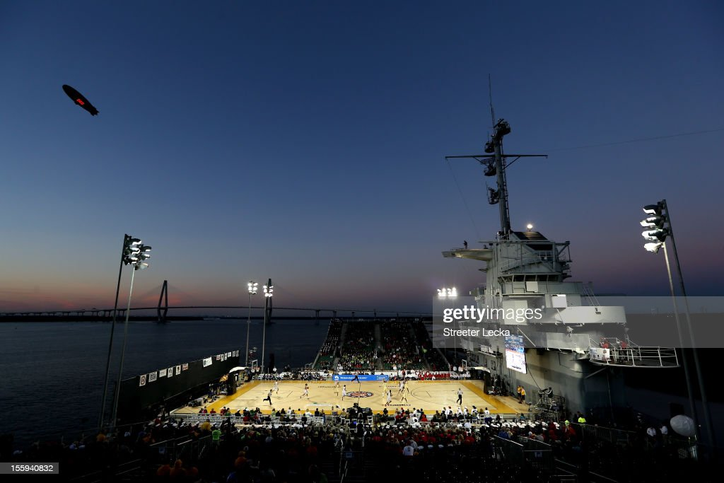 A general view of the Notre Dame Fighting Irish playing against the Ohio State Buckeyes during the Walmart Carrier Classic on the deck of the USS Yorktown on November 9, 2012 in Charleston, South Carolina.