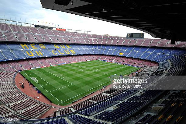 General view of the Nou Camp stadium ahead of the UEFA Champions League Group E match between FC Barcelona and Bayer 04 Leverkusen on September 29...