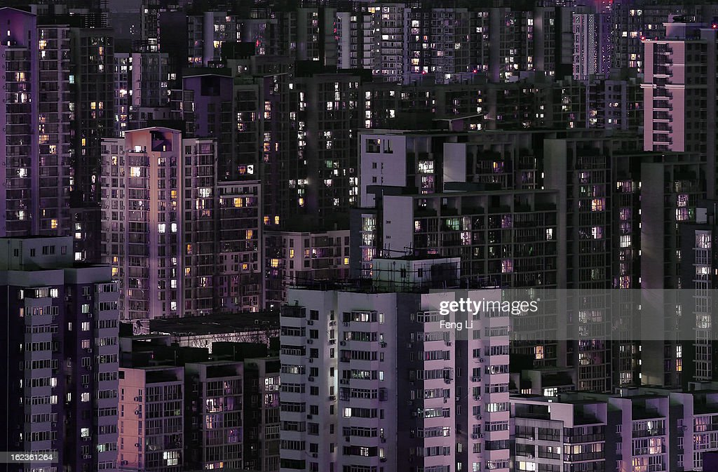 A general view of the numerous apartment buildings after sunset on February 22, 2013 in Beijing, China.