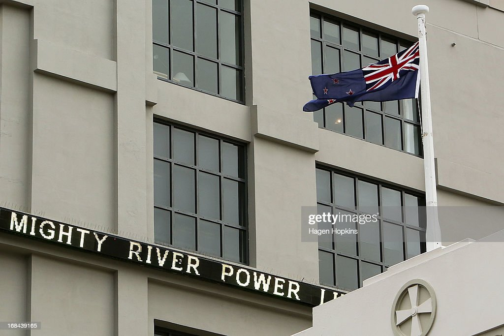 A general view of the NZX ticker prior to the listing of Mighty River Power at NZX on May 10, 2013 in Wellington, New Zealand. Mighty River Power is one of several state owned enterprises being partially sold by the Government to raise capital.