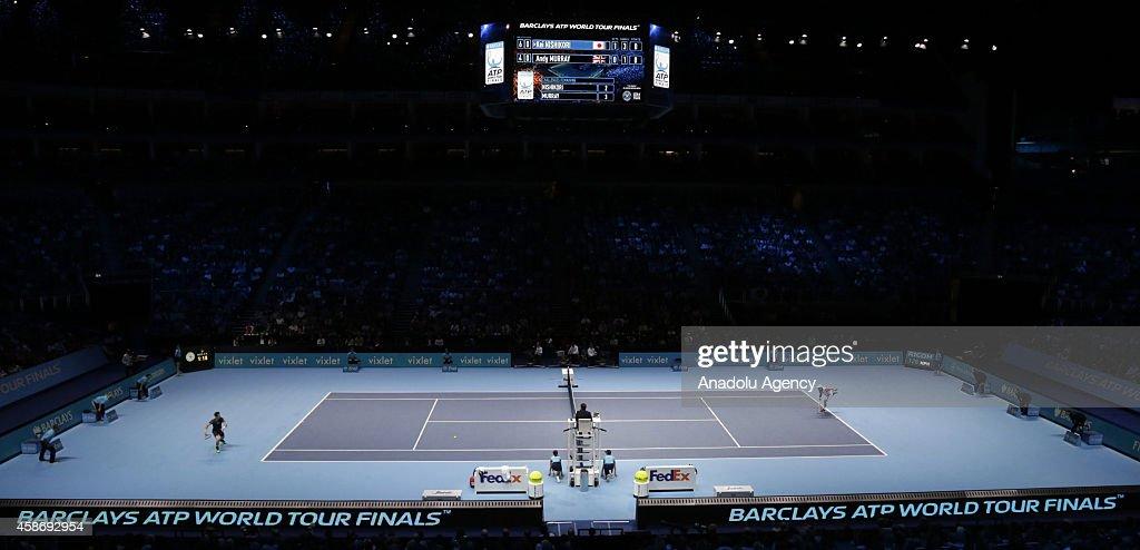 A general view of the O2 Arena shows Kei Nishikori of Japan returns ball to Andy Murray of Great Britain during the singles group B match on the first day of the Barclays ATP World Tour Finals at the O2 Arena on November 9, 2014 in London, England.