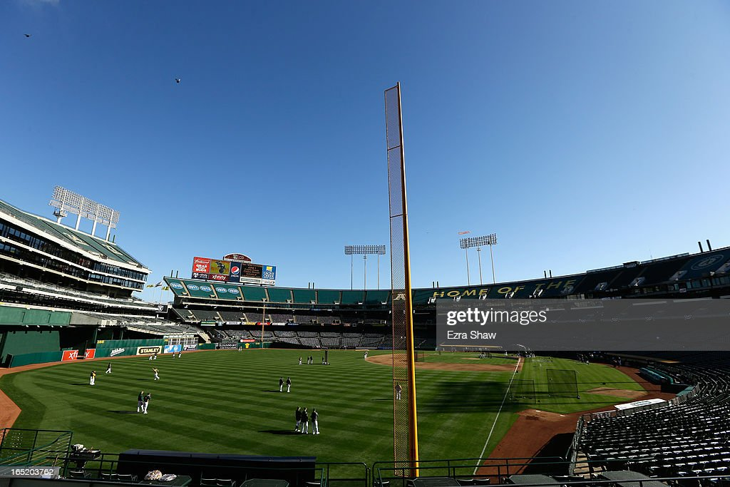 General view of the Oakland Athletics take batting practice before their game against the Seattle Mariners Opening Day at O.co Coliseum on April 1, 2013 in Oakland, California.