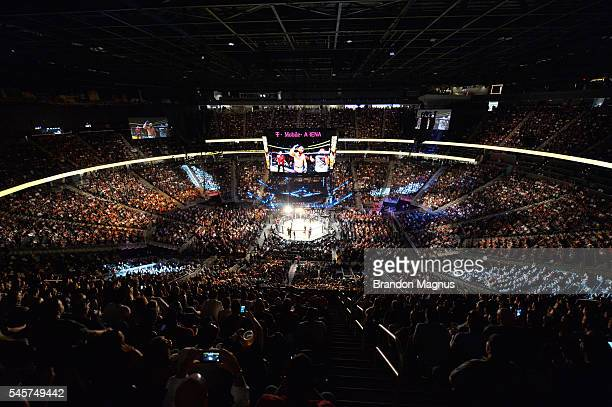 A general view of the Octagon during the UFC 200 event on July 9 2016 at TMobile Arena in Las Vegas Nevada