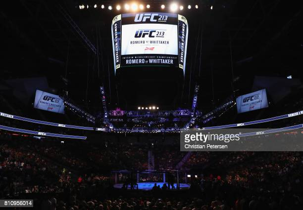 A general view of the Octagon during the UFC 213 event at TMobile Arena on July 8 2017 in Las Vegas Nevada
