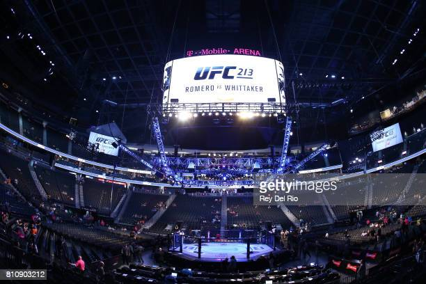 A general view of the Octagon during the UFC during the UFC 213 event at TMobile Arena on July 9 2017 in Las Vegas Nevada