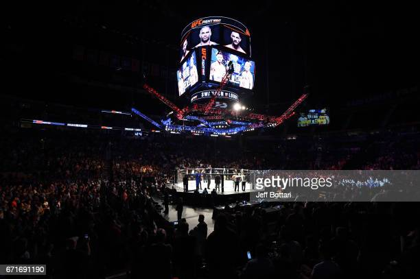A general view of the Octagon during the UFC Fight Night event at Bridgestone Arena on April 22 2017 in Nashville Tennessee