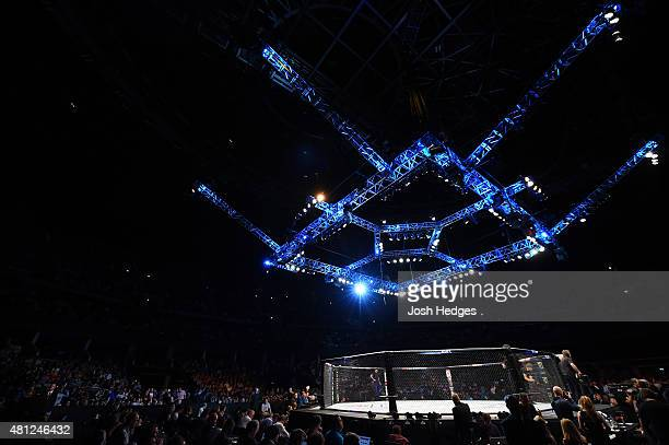 A general view of the Octagon during the UFC Fight Night event inside the SSE Hydro on July 18 2015 in Glasgow Scotland