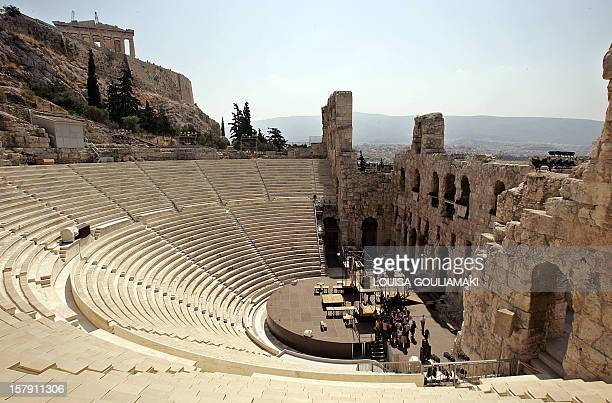 A general view of the Odeon of Herod Atticus beneath Athens Acropolis archaeological site during the inspection by the Greek minister of Culture...