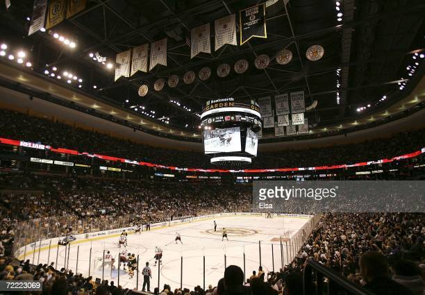 A general view of the of the arena as the Boston Bruins take on the Calgary Flames in the home opener on October 19 2006 at TD Banknorth Garden in...