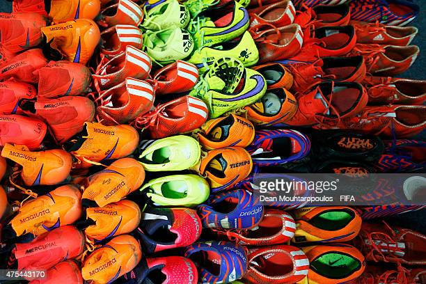 A general view of the of the Brazil players boots in the changing room during the FIFA U20 World Cup New Zealand 2015 Group E match between Nigeria...