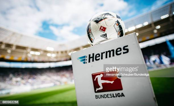 A general view of the official adidas matchball during the Bundesliga match between TSG 1899 Hoffenheim and FC Augsburg at Wirsol RheinNeckarArena on...