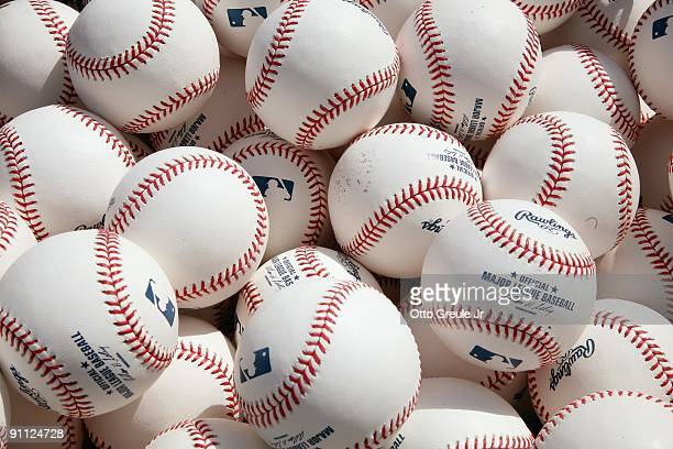 A general view of the official baseballs taken before the game between the New York Yankees and the Seattle Mariners on September 20 2009 at Safeco...