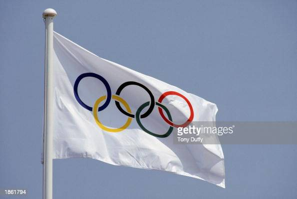 A general view of the Official Olympic Flag taken during the 1992 Summer Olympic Games in Barcelona Spain