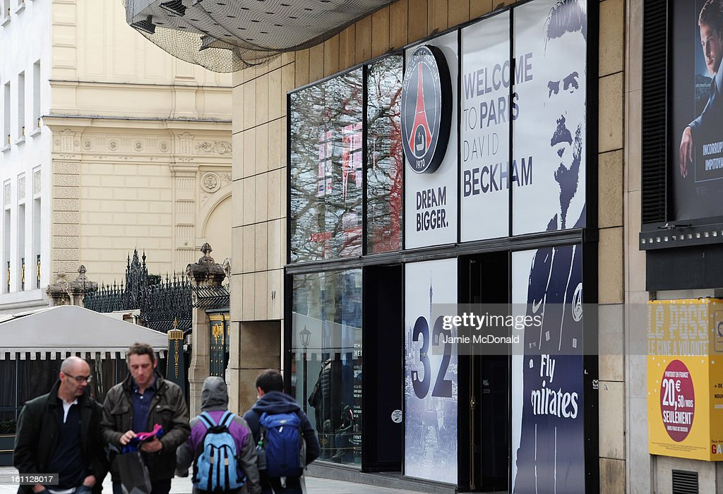 A general view of the official Paris Saint-Germain store on the Champs-Elysees where international football player David Beckham is welcomed on February 8, 2013 in Paris, France.