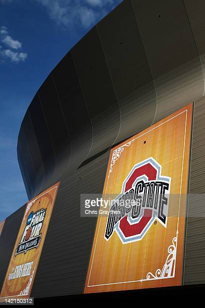A general view of the Ohio State Buckeyes logo on the exterior of the MercedesBenz Superdome during practice prior to the 2012 Final Four of the NCAA...
