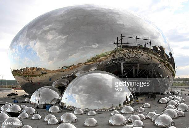 A general view of the oil bubbles sculpture at Well No1 on August 9 2015 in Karamay Xinjiang Uygur Autonomous Region of China Crude oil flow spurted...