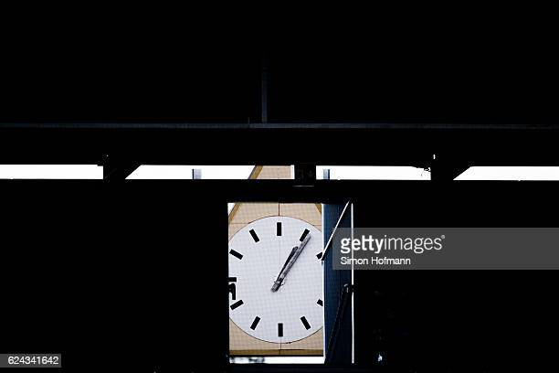 A general view of the old stadium clock seen through a gate of the new stands prior to the Bundesliga match between SV Darmstadt 98 and FC Ingolstadt...