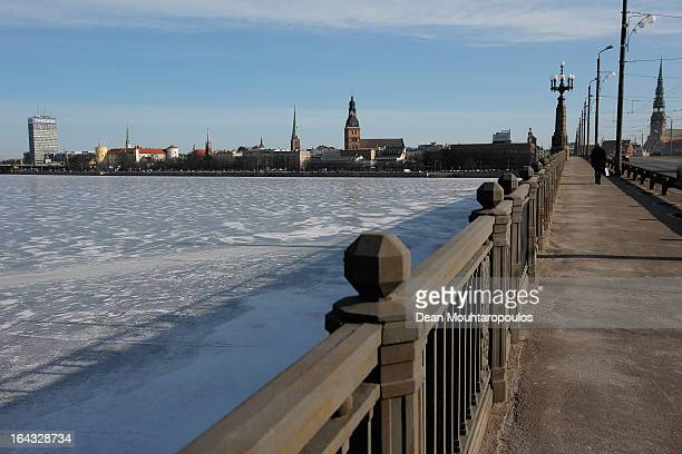A general view of the Old Town and frozen ice of the Daugava River from the Akmens Tilts Stone Bridge on March 21 2013 in Riga Latvia