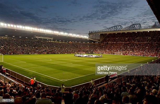 A general view of the Old Trafford stadium as the teams walk out onto the pitch before the UEFA Champions League Group E match between Manchester...