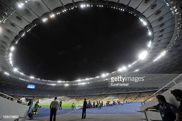 General view of the Olimpiyskiy National Sports Complex home of FC Dynamo Kyiv taken during the UEFA Champions League group stage match between FC...
