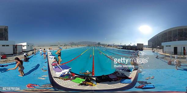 General view of the Olympic aquatic venue during the Maria Lenk Swimming Trophy Aquece Rio Test Event for the Rio 2016 Olympics at the Olympic Park...