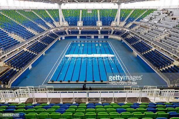 General view of the Olympic Aquatics Stadium at the Olympic Park which will host the swimming events during Rio 2016 Olympic Games in Rio de Janeiro...