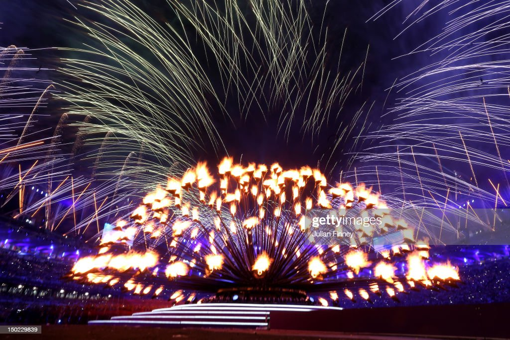 A general view of the Olympic cauldron before being extinguished during the Closing Ceremony on Day 16 of the London 2012 Olympic Games at Olympic Stadium on August 12, 2012 in London, England.
