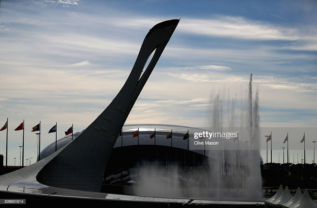 A general view of the Olympic Cauldron in front of the Bolshoy Ice Dome during qualifying for the Formula One Grand Prix of Russia at Sochi Autodrom on April 30, 2016 in Sochi, Russia.