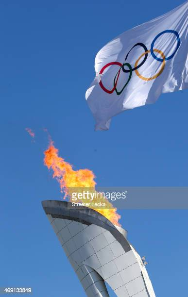 A general view of the Olympic flame on day six of the Sochi 2014 Winter Olympics on February 13 2014 in Sochi Russia