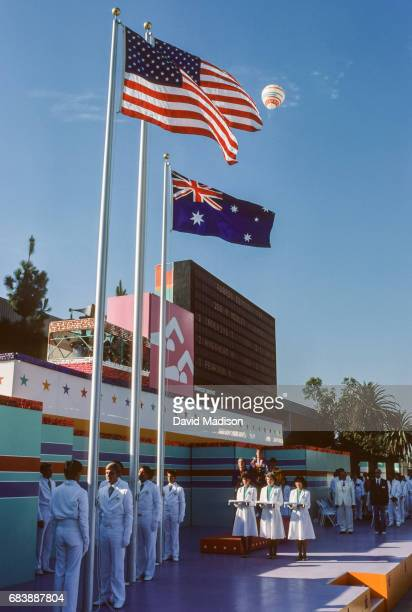 A general view of the Olympic medal ceremony for the Women's 200 meter Intermediate Medley event of the Swimming competition of the 1984 Summer...