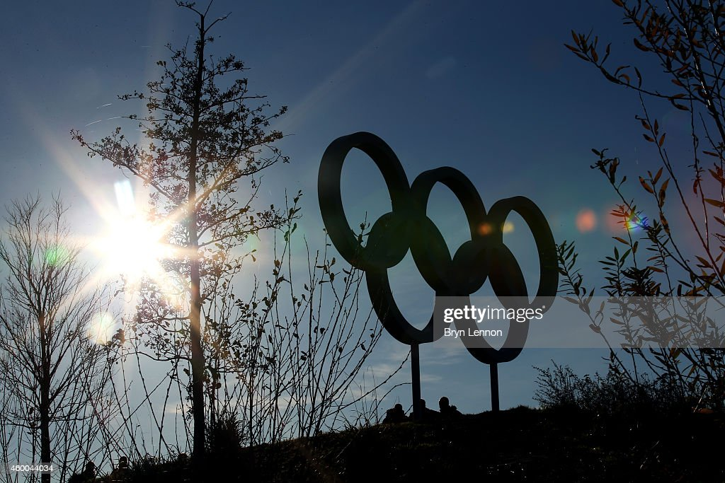 A general view of the Olympic Rings in the Queen Elizabeth Olympic Park on day two of the UCI Track Cycling World Cup at the Lee Valley Velopark...