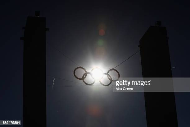 A general view of the Olympic rings prior to the DFB Cup Final between Eintracht Frankfurt and Borussia Dortmund at Olympiastadion on May 27 2017 in...