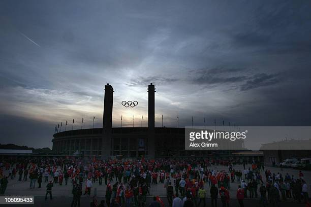 General view of the Olympic Stadium before the EURO 2012 group A qualifier match between Germany and Turkey on October 8 2010 in Berlin Germany