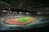 A general view of the Olympic Stadium during the UEFA Champions League Group B match between AS Roma and Leverkusen at The Olympic Stadium on...
