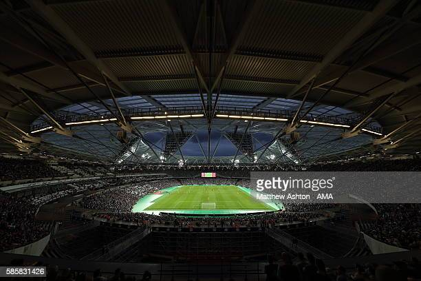 A general view of the Olympic Stadium home of West Ham United during the UEFA Europa League Third Qualifying Round Second Leg between West Ham United...