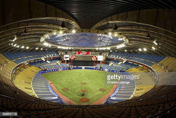A general view of the Olympic Stadium prior to the MLB game between the Atlanta Braves and the Montreal Expos May 24 2004 at Olympic Stadium in...