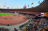 General view of the Olympic Stadium taken during the women's 5000m final at the athletics event of the London 2012 Olympic Games on August 10 2012 in...