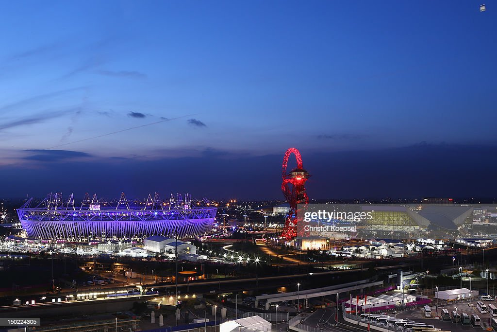 A general view of the Olympic Stadium, the Orbit and the Aquatic centre during the closing ceremony of the 2012 London Olympic Games on August 12, 2012 in London, England. Athletes, heads of state and dignitaries from around the world have gathered in the Olympic Stadium for the closing ceremony of the 30th Olympiad.