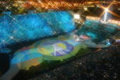 General view of the Olympic stadium where pictures to present Torino are projected during the closing ceremony of the XIXth Winter Olympic Games 24...