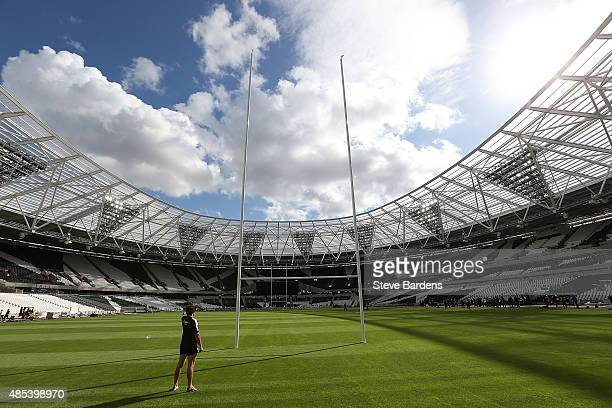 General view of the Olympic Stadium with rugby posts in place during a kicking session for the Barbarians players at the Olympic Stadium on August 27...