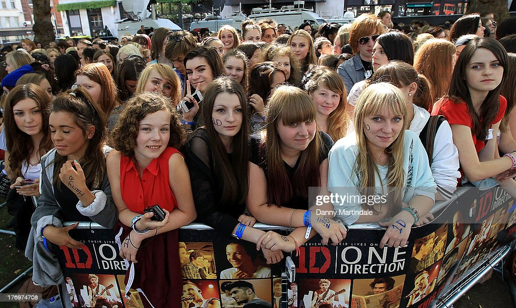 General view of the One Direction fans who have gathered for the One Direction Premiere 'This Is Us' at the Empire Cinema, Leicester Square on August 20, 2013 in London, England.