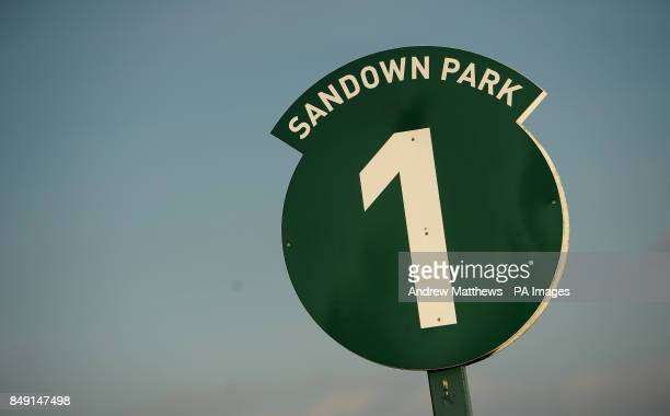 General view of the One Furlong marker at Sandown Park Racecourse