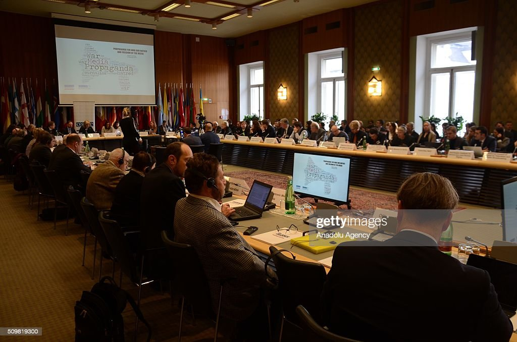 General view of the one-day expert panel entitled Propaganda for War and Hatred and Freedom of the Media' in Vienna, Austria on February 12, 2016.