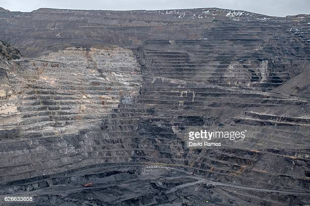 A general view of the opencast mine of Aurelio del Valle on November 26 2016 in Santa Lucia Spain The struggling coal mining industry is on its way...